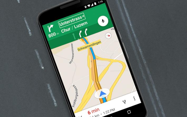 Google Maps prikazuje tudi hitrost med vožnjo