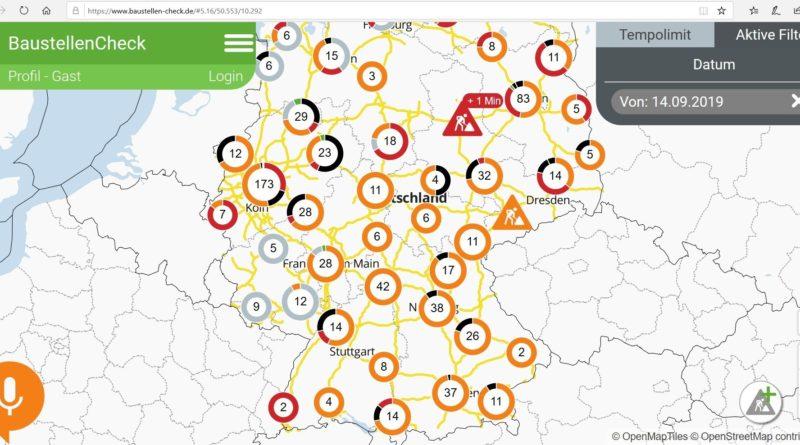 Spletna stran z informacijami o delu na cesti v Nemčiji